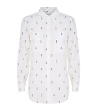 Equipment Slim Signature Anchor Print Shirt Female White