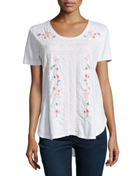 Jwla Floral Embroidered Shirttail Hem Tee White