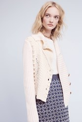 Anthropologie Threaded Cableknit Cardigan Ivory