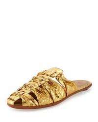 The Row Capri Woven Snakeskin Mule Slide Gold