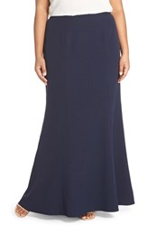 Adrianna Papell Plus Size Women's Stretch Crepe Maxi Skirt Navy