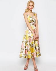 Asos Bow Front Midi Prom Dress In Yellow And Pink Florals Multi