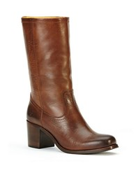 Frye Kendall Mid Calf Leather Boots Brown