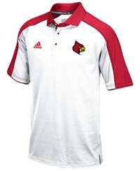 Adidas Men's Louisville Cardinals Sideline Polo Shirt White Red