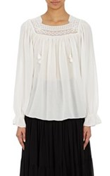 Saint Laurent Women's Gauze Peasant Top White Size 42 Fr