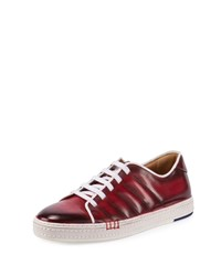 Berluti Playfield Side Stitch Leather Sneaker Red Size 8D