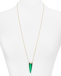 Alexis Bittar Lucite Liquid Spear Pendant Necklace 32 Leaf Green