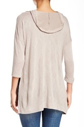 Hip Cowl Neck Hooded Sweater Brown