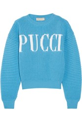 Emilio Pucci Chunky Knit Merino Wool Sweater Light Blue