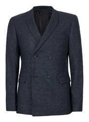Topman Blue Navy Textured Double Breasted Skinny Fit Blazer