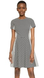 Lela Rose Contrast Panel Dress Black Ivory