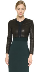 Narciso Rodriguez Zip Leather Cardigan Black