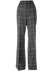 Calvin Klein Checked Flared Trousers Grey