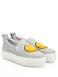Joshua Sanders Smiley Face Slip On Platform Sneakers Grey
