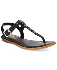 Sperry Top Sider Women's Virginia Braided Flat Thong Sandals Women's Shoes Black