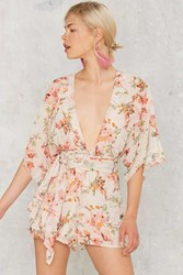 Nasty Gal Branch Out Floral Romper Beige
