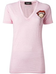Dsquared2 Lips Detail V Neck T Shirt Pink And Purple