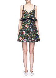 Victoria Beckham Floral Print Peplum Waist Faille Dress Multi Colour