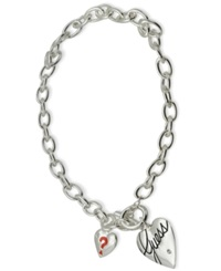 Guess Necklace Silver Tone Heart Logo Toggle Necklace