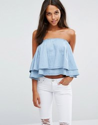 Liquor And Poker Oversize Ruffle Crop Top Mid Wash Blue