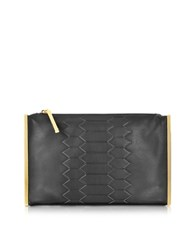 Class Roberto Cavalli Anaconda Black Leather Clutch