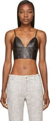 Alexander Wang Black Leather Raw Edged Triangle Bralette