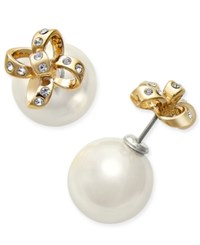 Kate Spade New York Gold Tone Imitation Pearl And Pave Bow Reversible Front And Back Earrings