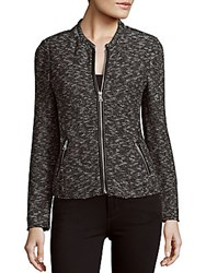 Rebecca Taylor Long Sleeve Zippered Jacket Black White