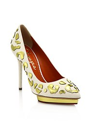 Charlotte Olympia Debbie Linen And Metallic Leather Platform Pumps White