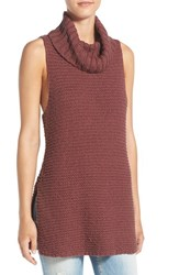 Billabong Women's Sleeveless Knit Cowl Neck Tunic Mauve Wood