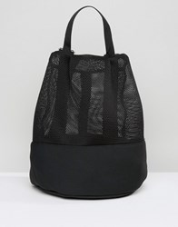 Asos Lifestyle Mesh And Scuba Backpack Black