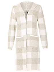 Izabel London Checked Hooded Cardigan Beige