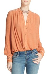 Free People Women's 'The Best' Button Front Blouse Peach