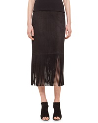 Akris Punto Long Fringe Suede Pencil Skirt Black