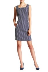 Nine West Sleeveless Square Neck Darted Jacquard Shift Dress Multi