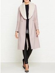 Reiss Franchesca Long Coat With Faux Collar Pale Pink Cream