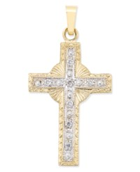 Macy's Diamond Accent Halo Cross Pendant In 14K Gold Yellow Gold