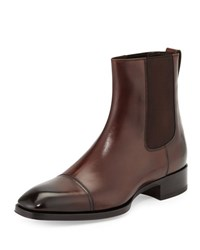 Tom Ford Gianni Leather Chelsea Boot Brown Grey