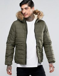 Schott Quilted Padded Hooded Jacket Detachable Faux Fur Trim Khaki Green