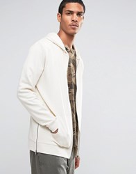 Asos Longline Zip Up Hoodie With Side Zips In Off White Whitecap Grey Beige