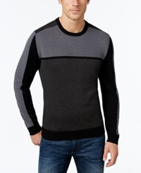 Alfani Men's Big And Tall Colorblocked Sweater Only At Macy's Deep Black Combo