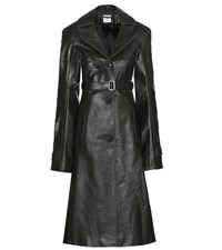 Vetements Leather Trench Coat Green