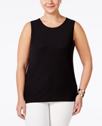 Alfani Plus Size Textured Layering Tank Only At Macy's Deep Black
