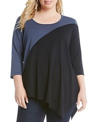 Karen Kane Plus Color Block Tunic Top Black