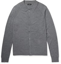 Theory Berner Slim Fit Wool Polo Shirt Anthracite