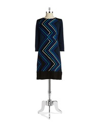 Rafaella Mixed Print Shift Dress Cobalt Blue