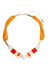 Topshop Sequin And Block Beaded Necklace Orange