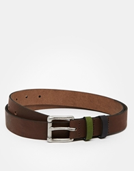 Asos Skinny Leather Belt In Brown With Coloured Keepers