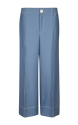 Bally Wool And Silk Twill Palazzo Trousers Blue