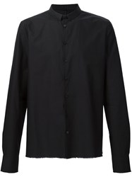 Label Under Construction Frayed Hem Shirt Black